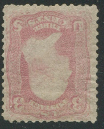 3c Pink (64) disturbed o.g., with faults that invariably accompany these stamps with original gum, still fine appearing, with P.F. certificate (1990). An incredibly rare stamp with gum. $14,000.00