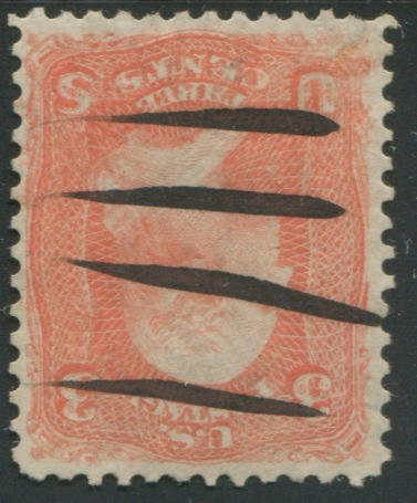 3c scarlet (74TC) Trial Color defaced with four pen-strokes, well-centered, small closed tear, hint of toning not mentioned in certificate, very fine appearance, with P.F. certificate for #74 (1991). $5,500.00