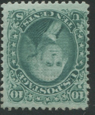 10c green E grill (89) fresh bright color, part o.g., fine copy of this rare stamp, Ex. Lutwak, with P.F. certificate (1976). $5,250.00