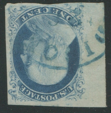 1c blue type IIIa (8A) left sheet margin copy showing portion of adjacent stamp at top, other sides good to clear, tiny faint corner crease in top right margin, still very fine, with P.F. certificate (1990). $1,100.00