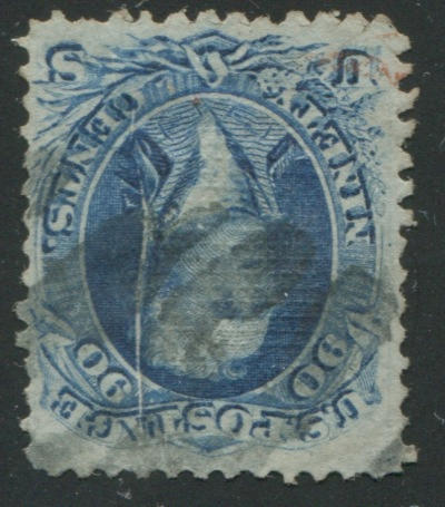 90c blue F grill (101) grid cancel, stunning pre-printing crease, few faint other crease, otherwise fine. $2,400.00