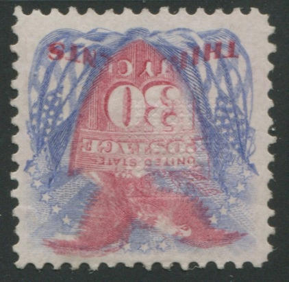 30c ultramarine & carmine (121) centered, fresh bright colors, redistributed original gum, fine-very fine example. $6,000.00