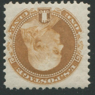 1c buff 1875 re-issue (123) deep color, o.g., fine. $550.00