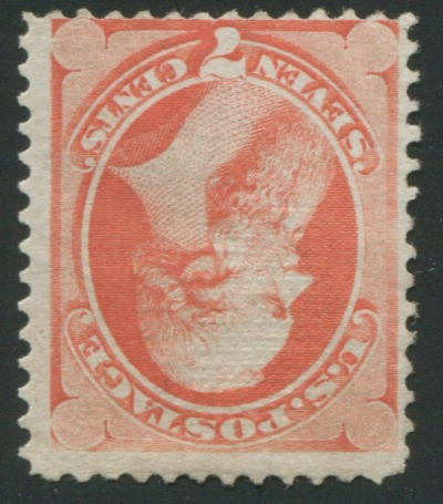 7c vermilion (138) fresh color, original gum, tiny corner perf. crease at bottom left, not mentioned in certificate, still fine, rare, with P.S. E. certificate (1990). $4,250.00
