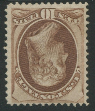 10c brown (139) unused, fine, with P.F. certificate (1987). $2,550.00