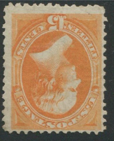 15c orange (141) disturbed original gum, fine, with P.F. certificate (1991). A very rare stamp. $7,500.00
