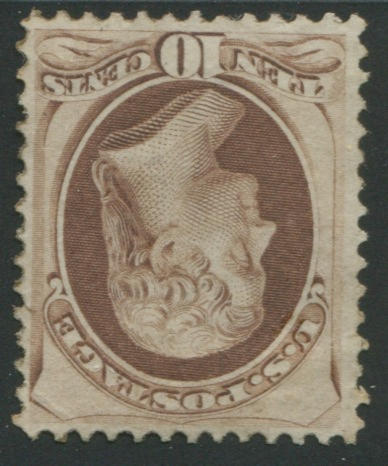 10c brown (150 fresh and well-centered, disturbed o.g., small tear in right margin, still fine. $2,250.00