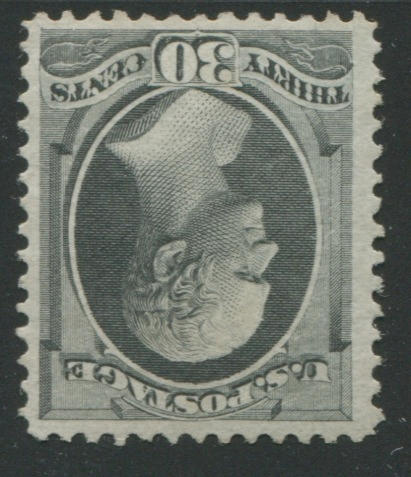 30c black (154) unused, reperfed at right, very fine appearance, with P.F. certificate (1990). $2,750.00