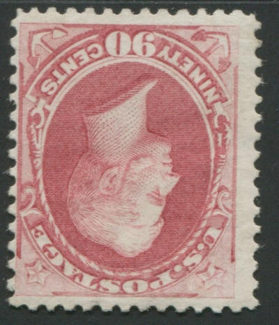 "90c rose carmine (166) fresh color, part o.g., ""few small marks at top"", still fine, with P.F. certificate (1978). $2,250.00"