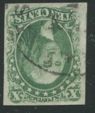 10c green type I (13) margins all round, light c.d.s. cancel, very fine. $900.00