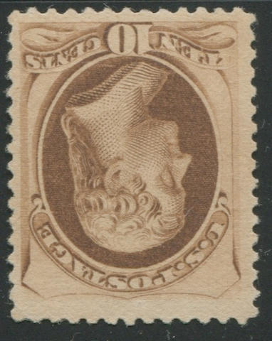 10c brown (187) good color, unused, tiny perf. corner crease at top right, still almost very fine. $3,250.00