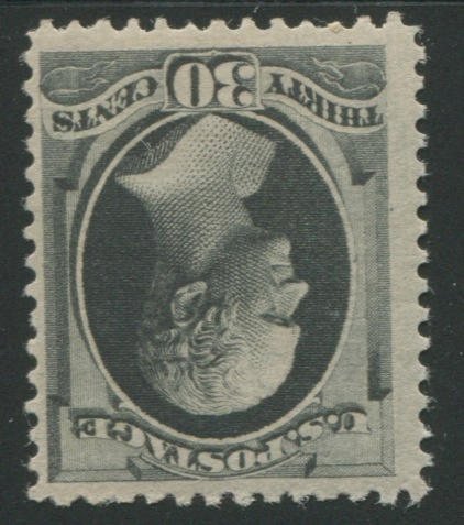 30c full black (190) original gum, almost very fine, with copy of P.F. certificate (1984) for block of which this is the lower right stamp. $900.00