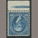 $2.00 bright blue 1895 Issue (277) bottom margin single with part imprint, deep rich color, original gum, almost very fine, with copy of P.F. certificate (1991) for strip of which this is the center stamp. $950.00