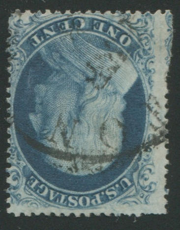 1c blue type 1a (19) position 98L4, centered to right, few unpunched perfs. at lower left, nearly fine example of this incredibly rare stamp, with P.F. certificate. $10,000.00