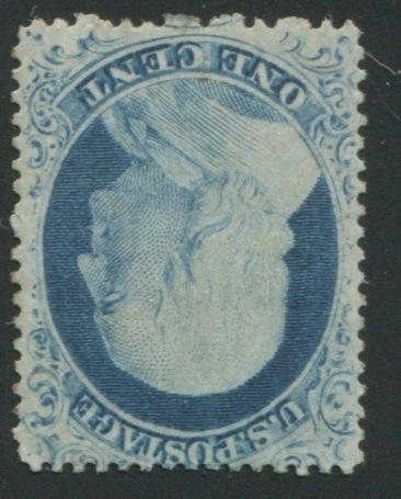 1c blue type IV (23) fresh color, unused (regummed), fine copy, with P.F. certificate (1988). $4,000.00