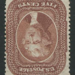 5c red brown (28) quite well-centered for this stamp, unused, virtually imperceptable tone spots at left, still almost very fine, P.F. certificate #45559 handed in.