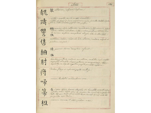 Horsburgh, Manuscript Chinese/Latin Dictionary
