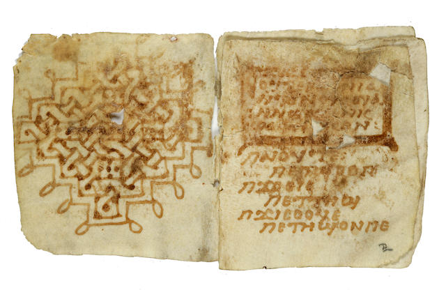 COPTIC-GREEK WORD BOOK AND GLOSSARY. Manuscript on vellum, 10 leaves recto and verso (of which the final three are blank) being a single quire, 16mo (approx 68 x 63 mm), [Egypt, 6th or 7th century],