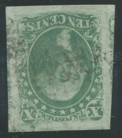 10c Green type III (15) enormous margins, extremely fine, with graded P.F. certificate XF90 (2011) SMQ $325.00