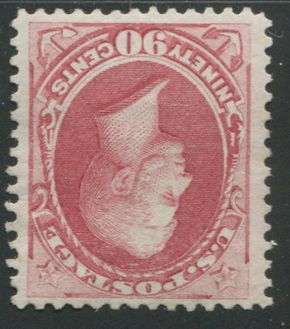 90c rose carmine (166) well centered, trace of original gum, very fine. $2,250.00