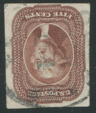 5c red brown (12) faint vertical crease through right margin, very fine appearance. $750.00