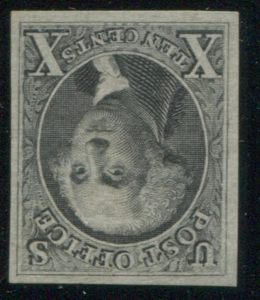 10c black reproduction (4) unused, light horizontal wrinkling, still very fine, with P.S.A.G. certificate (2011). $1,000.00