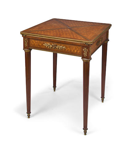 A Louis XVI style gilt bronze mounted kingwood envelope card table Francois Linke, index number 449 circa 1900