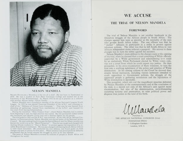 [MANDELA, NELSON. B. 1918.] We Accuse. The Trial of Nelson Mandela. London: African National Congress, 1962.<BR />