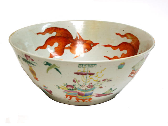 A famille rose enameled export porcelain bowl Late Qing dynasty