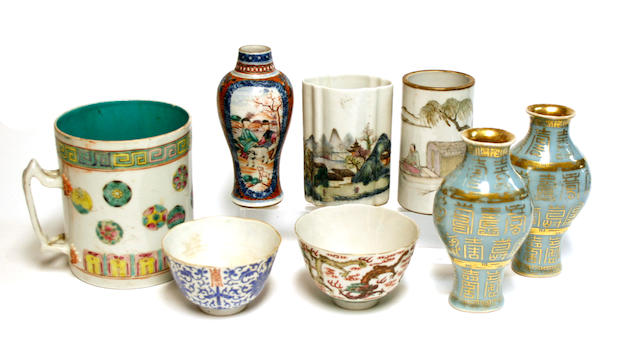A group of eight Chinese porcelain containers Late 18th century and later