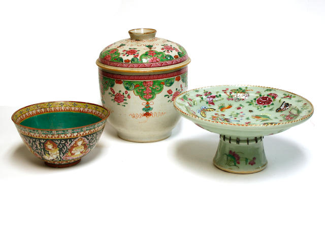 A group of three Chinese famille rose enameled export porcelain containers