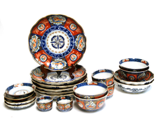 A group of Japanese Imari porcelain dishes