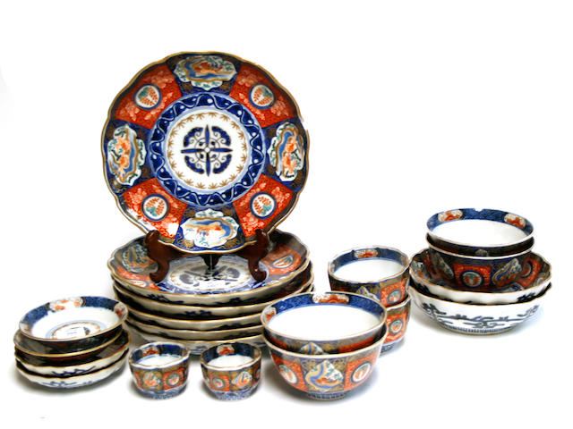 A group of Japanese Imari gilt porcelain dishes