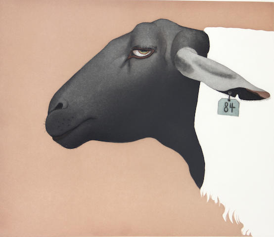 Beth van Hoesen (American, 1926-2010); Suffolk Sheep;