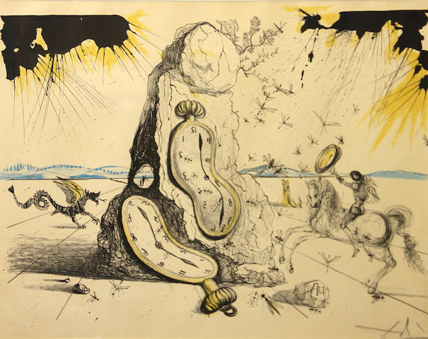Salvador Dali, Cosmic Rays Resuscitating soft watches, (F 65-3), 1965, Color lithography, Signed and numbered 25 of 150, Stamped Sidney & Lucas, 23 x 29 inches