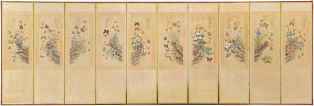 A ten panel screen with butterflies, flowers and rocks 20th century