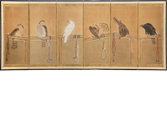 A Japanese six panel screen of falcons, Kano school mid to late Edo, abrasions some losses