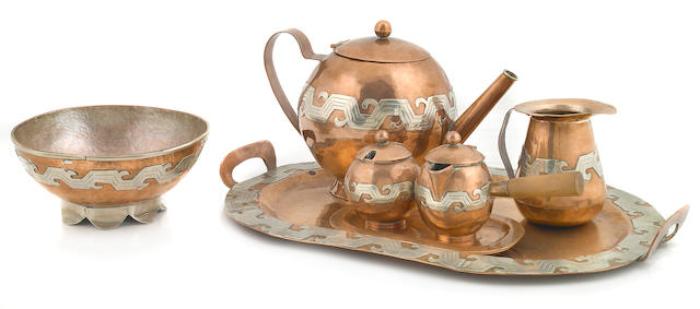 A Mexican silver over copper seven-piece tea service Taxco, third quarter 20th century