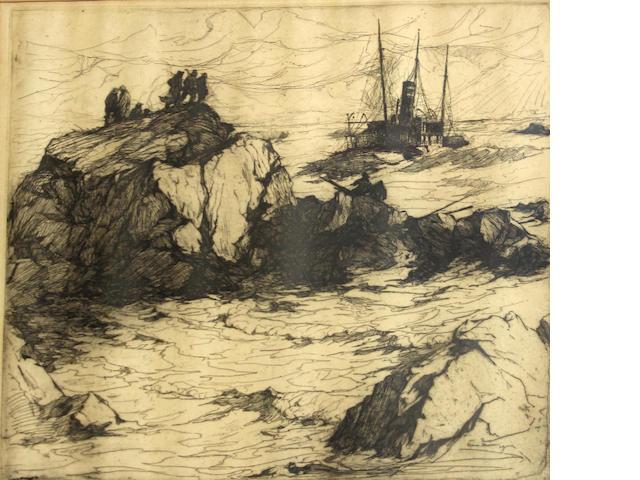 Armin Hansen, etching;