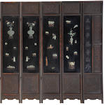 An eight panel jade inlay wood screen