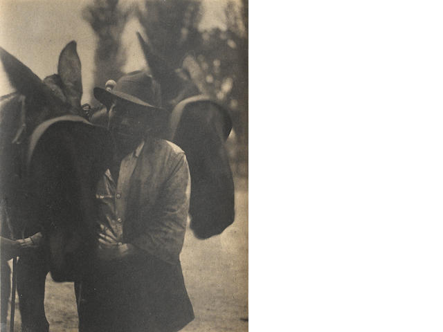 Doris Ullsman, Black man with mule, 1929-3, waxed platinum print;