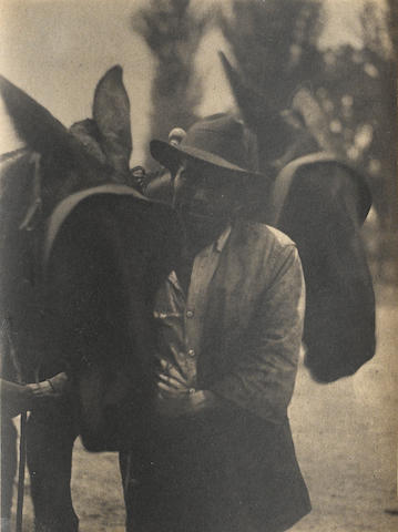 Doris Ullsman, Black man with mule, 1929-3, waxed platinum print;