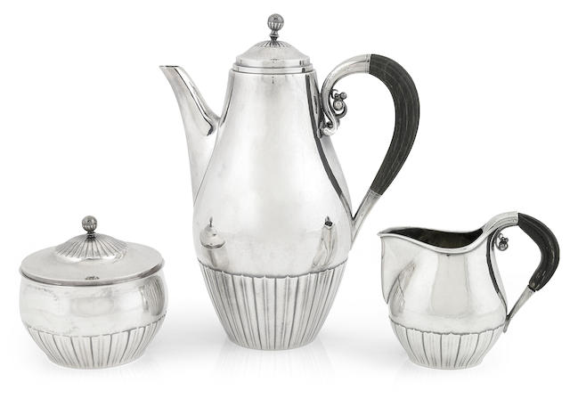 A Georg Jensen sterling silver Cosmos three piece coffee service designed by Johan Rohde, post 1945