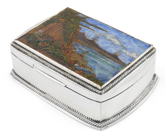 An Omar Ramsden enameled and hammered silver box circa 1925