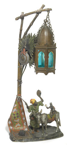 A Chotka cold painted bronze and glass figural lamp  early 20th century