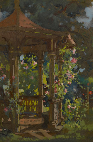 Colin Campbell Cooper (American, 1856-1937) Summer eve (The Gazebo) 13 3/4 X 10 1/2in