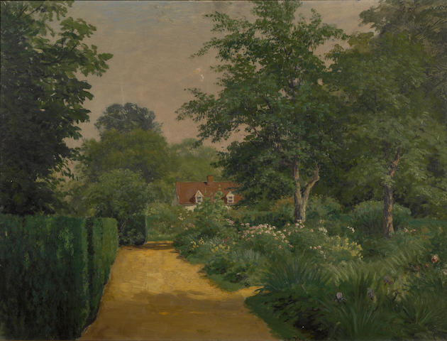John Ross Key (American, 1837-1920) Sunlight on a garden path 18 1/4 x 24 1/4in