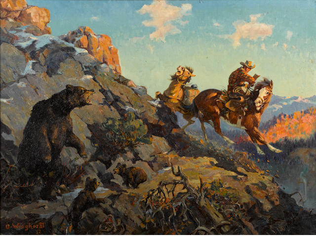 Olaf Carl Wieghorst (American, 1899-1988) Trouble on the trail 28 1/4 x 38in