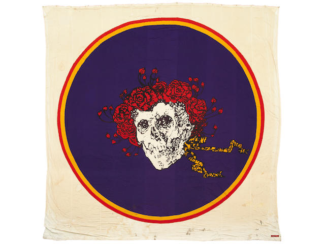 "Grateful Dead ""Skull and Lightning"" banner, used by Bill Graham at Winterland"