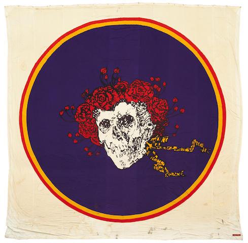 """Grateful Dead """"Skull and Lightning"""" banner, used by Bill Graham at Winterland"""